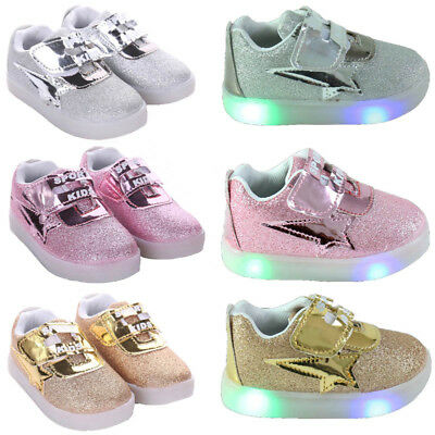 Flash LED Children Baby Toddler Kids Light Up Trainers Lace Up Shoes Luminous UK