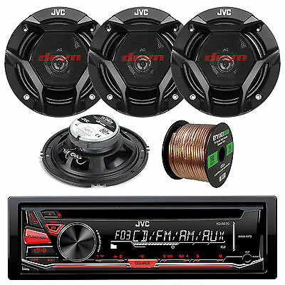 "JVC KDR330 InDash AM FM CD MP3 Receiver 2 X Pair 6x5"" Speakers Car Audio Package"