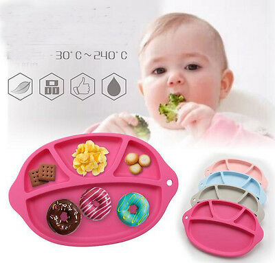 New Silicone Happy Eat Baby Kids Suction Table Foods Tray Placemat Plate Bowl UK