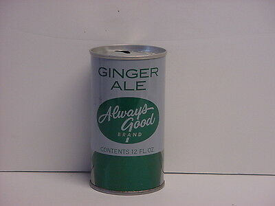Vintage Always Good Ginger Ale Straight Steel Pull Tab Soda Can Top Opened