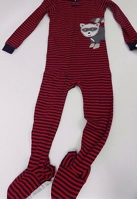 Carter's Boy Girl 1Pc Racoon Red Navy Striped Footed Cotton Sleeper Pajamas 3T
