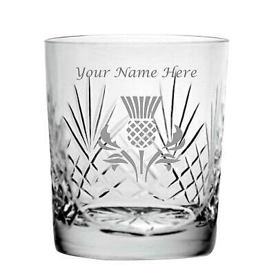 Personalised Engraved Cut Crystal 11oz Whisky Glass With Scottish Thistle Design