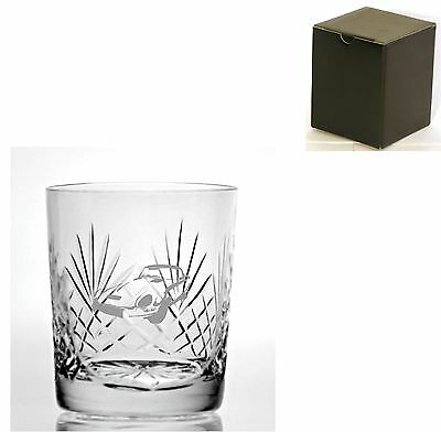 Cut Crystal 11oz Whisky Glass With E Type Jaguar Design - Gift Box Included