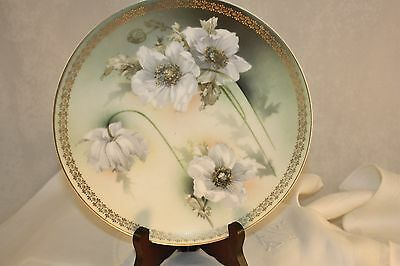 Collectible fine porcelain china plate flowers gold trim Germany R & S