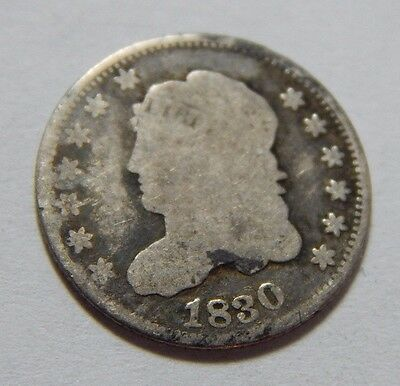 1830 H10C Silver Capped Bust Half Dime Coin