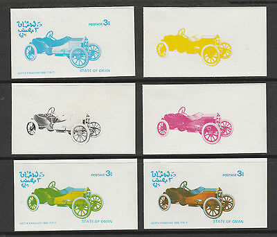 Oman 3116 - 1976 CARS - ISSOTA  set of 6 PROGRESSIVE PROOFS unmounted mint