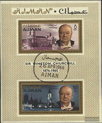 Ajman block7a (complete issue) used 1966 Winston Churchill