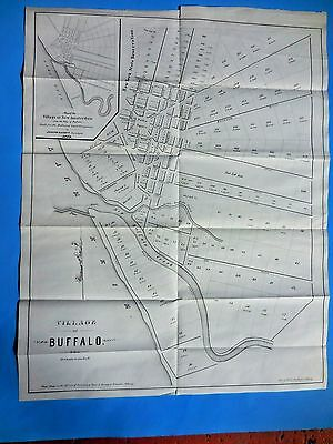 """1804 ANTIQUE LARGE ORIGINAL MAP """"VILLGE OF BUFFALO fine condition, by R.H. PEASE"""