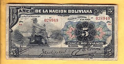 Price Reduced 028949 Banknote Bolivia Vf 5 Bolivianos Free Shipping 1911