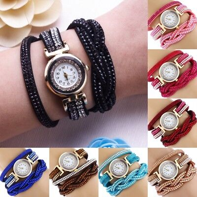 Fashion Women's Watch Bracelet Crystal Leather Dress Analog Quartz Wrist Watches