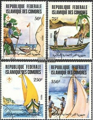 Comoros 652-655 (complete issue) used 1982 75 years Scouts