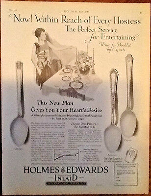 Holmes and Edwards silver plate ad 1928 original vintage 1920s art hostess offer