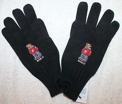 Polo Ralph Lauren Mens Black Polo Bear Cotton Gloves NWT One Size