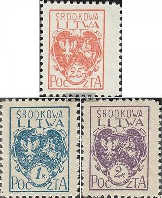 Central Lithuania 1A-3A (complete issue) unmounted mint / never hinged 1920 clea