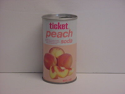 Vintage Ticket Peach Soda Straight Steel Pull Tab Top Opened Soda Can