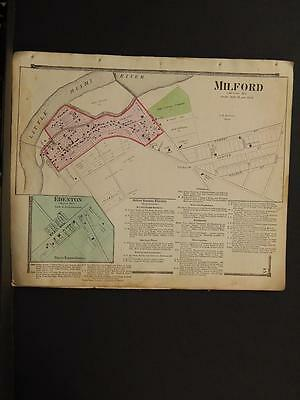 Ohio Clermont County Map MIlford, Edenton 1870 W1#26