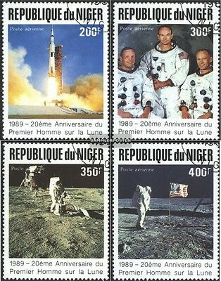 Niger 1069-1072 (complete issue) used 1989 Anniversary to Moon