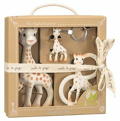 Vulli Sophie The Giraffe Trio Teething Gift Set with keyring and teether