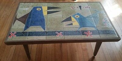 Vintage Vibrant Mid Century Modern Cubist Tile Top  Coffee Table Bird Butterfly