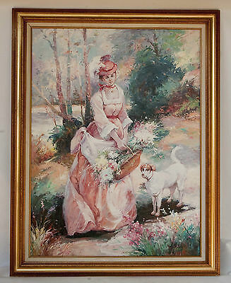 LARGE oil painting on canvas FRENCH impressionist STYLE Woman with Dog