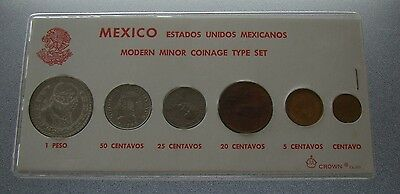Mexico Modern Minor Coinage Type Set w/ 1959 Un One Peso Silver