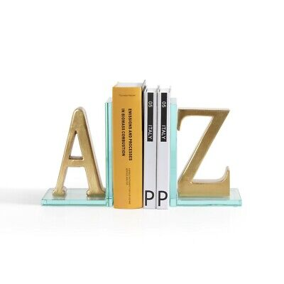 Danya B Gold A to Z Glass Bookends - DS830
