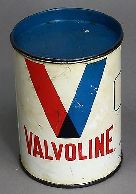 Vintage VALVOLINE Lubricant 1 Pound Tin Can Gas Station Advertising