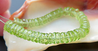 55 FINEST AAAAA FACETED 4.8-5.7mm GLOWING GEM APPLE GREEN PERIDOT BEADS