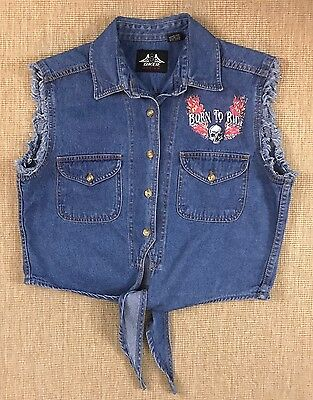 Vintage Womens Biker Vest Made By Biker Design Size M Denim Born To Ride