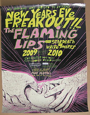 FLAMING LIPS New Year's Eve Freakout 2009 Concert POSTER Coyne PINK FLOYD VG++