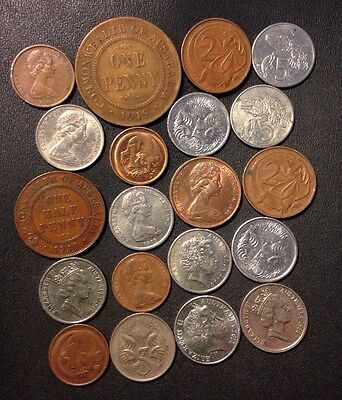 Old Australia/New Zealand Coin Lot - 1919-PRESENT - 20 Great Coins - Lot #M22