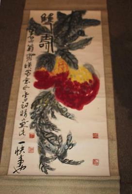 """Vintage Chinese Scroll Colorful Paimted Blossoms 22 1/2"""" x 64"""""""