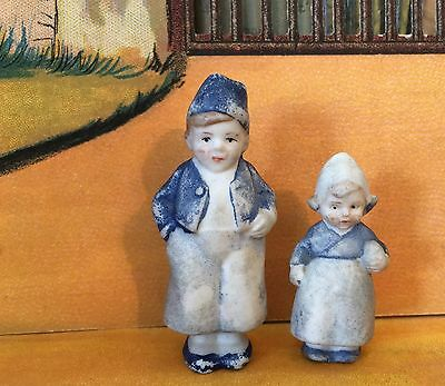 2 Antique German All Bisque Immobile Dutch Boy and Girl Figurines Germany