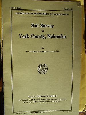 Vtg 1928 Soil Survey Book And Map Of York County Nebraska Color Fold Out Map