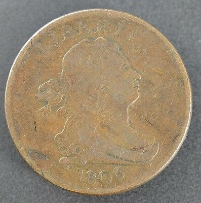 1806 Small 6 Stemless Draped Bust Half Cent in Fine Condition