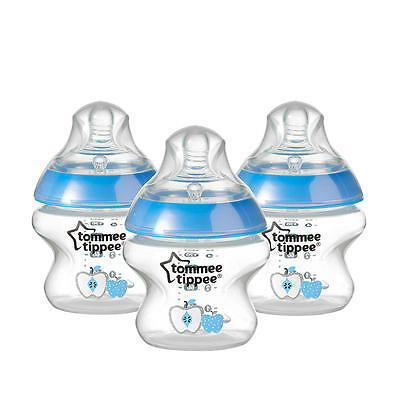 New Tommee Tippee Closer to Nature 3 Pack Decorated 5 Ounce Bottle - Boys