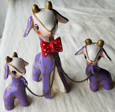 Vntg JAPAN GOAT FIGURINES, MAMA & KIDS on CHAIN. CUTE, PERIWINKLE w POLKA DOTS