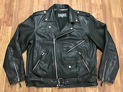 Mens Vtg Motorcycle Biker Rocker Thin Quilted Distressed Leather Jacket XL