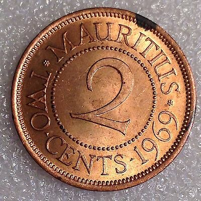 Mauritius 2 Cents 1969 Great Coin! Bronze