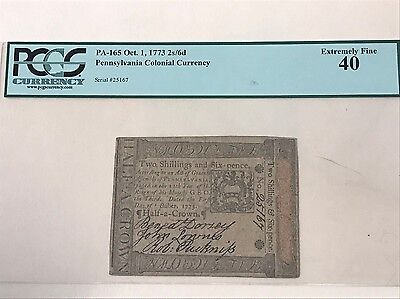 OCT 1, 1773 PENNASYLVANIA COLONIAL CURRENCY 2s/6d NOTE PAPER MONEY PCGS EF40