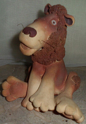Collectible Whimsical Handcrafted Clay Lion Spagetti Mane Figurine Wild Animal