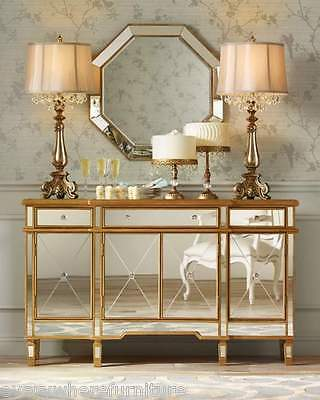 Hollywood Regency Mirrored Console Gold Cabinet Dresser Table Bedroom Furniture
