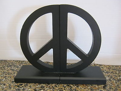 Black Wooden Peace Sign Bookends - Great Retro Item