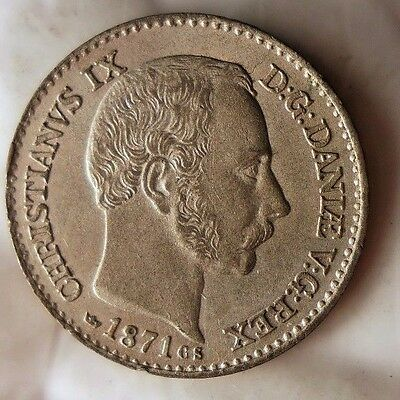 1871 DENMARK 4 SKILLING - AU/UNC - Awesome Coin - FREE SHIP WORLDWIDE - HV19