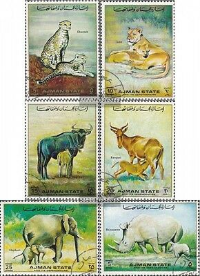 Ajman 1405-1410 (complete issue) used 1972 African Wildlife: Mu