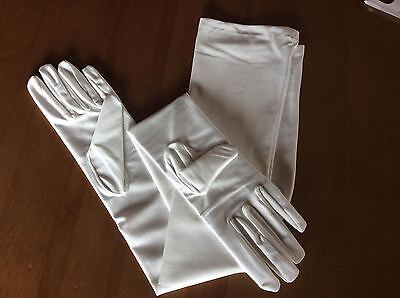 #G4 Light Ivory Matte Satin LOW SHINE Formal Bridal Wedding GLOVES Opera Length