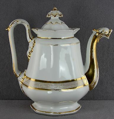 Antique 19Thc Porcelain Coffee Pot Serpent Spout Gold Decoration Old Paris Style