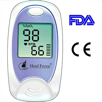 Heal Force Prince 100A Fingertip Oximeter Finger Tip Pulse Ox Spo2 Monitor Probe