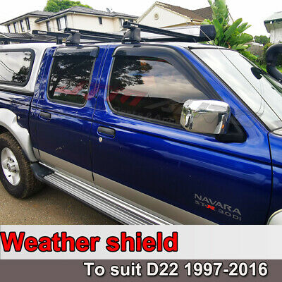 Premium Nissan Navara D22 Weathershields Weather Shields Window Visors 1997-2016
