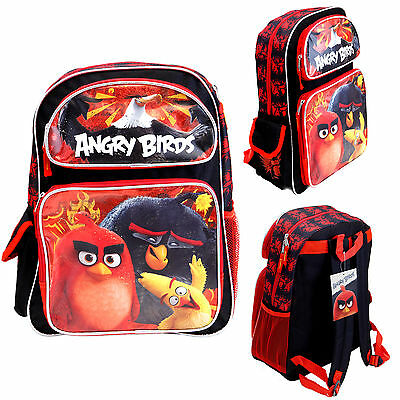 "Cartoon Angry Birds 16"" Large Backpack Kids Canvas Book Bag Licensed New"